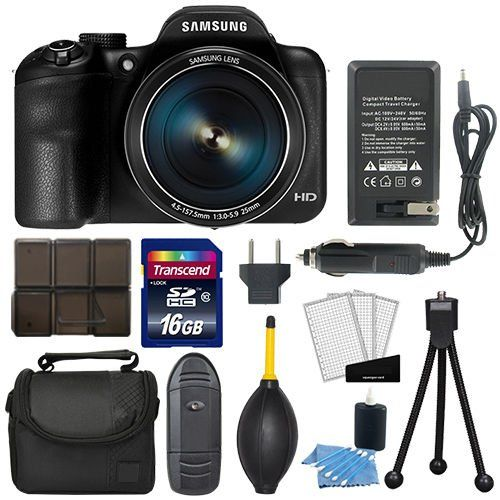 Samsung WB1100F Smart WiFi Digital Camera 16.2MP Black + Flexible Tripod + Small Digital Camera/Video Case (Black) + Transcend 16GB Top Accessory Kit