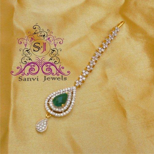 Emerald Green Maang Tikka - Online Shopping for Maang Tikkas by Sanvi Jewels Pvt. Ltd.