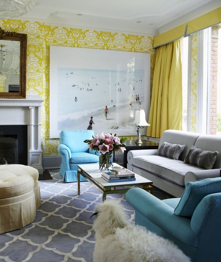 Coral yellow green with gray couch yellow damask wallpaper living room blue carpet rug sofa Gray blue yellow living room