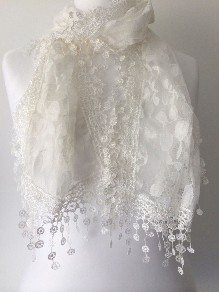 Ivory Lace Scarf , Vintage Style Cream Lace , Embroidered Scarf , Ladies Lacey Scarf with tassel trim by purplepossumuk on Etsy https://www.etsy.com/listing/231945950/ivory-lace-scarf-vintage-style-cream