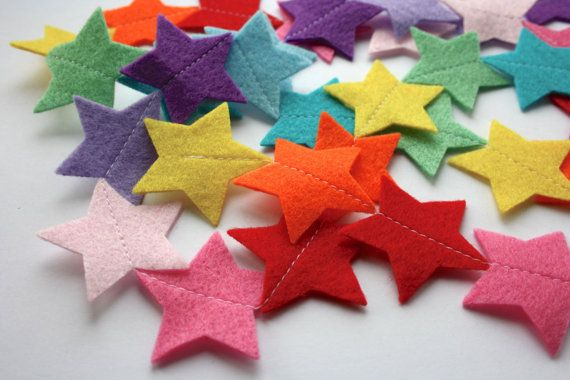Rainbow Star Felt Garland  Nursery Decor  Kids by littlenestbox