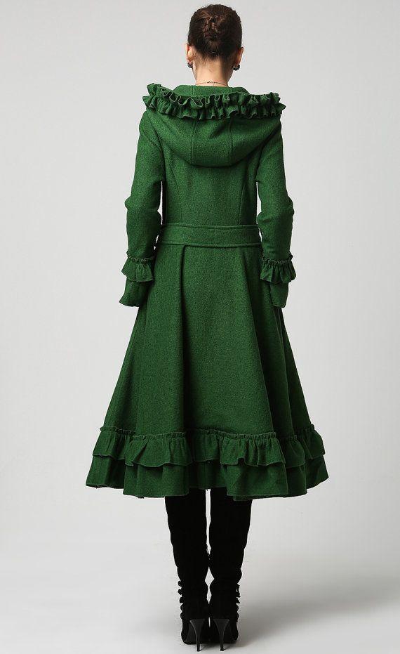 Womens Dark Green Wool Maxi Coat with Hood 1120 di xiaolizi