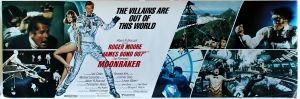 James Bond Moonraker Panel, 1979 - original vintage cinema poster for the 007 James Bond movie, Moonraker, starring Roger Moore, Lois Chiles (Holly Goodhead), Michael Lonsdale (Hugo Drax) and Richard Kiel (Jaws), listed on AntikBar.co.uk