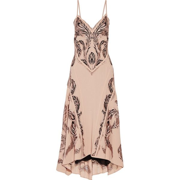Roberto Cavalli Embroidered crepe and tulle midi dress (€1.440) ❤ liked on Polyvore featuring dresses, antique rose, fitted dresses, rose dress, mid calf dresses, embroidered midi dress and embroidery dresses
