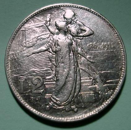 Italy 1911 silver 2 lire