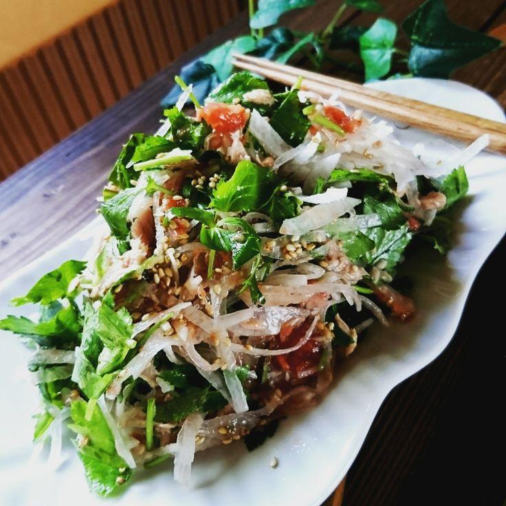 超旨❤️三つ葉大根とツナの梅ごまさっぱりサラダ | 毎日を大切に生きる♡かおりんHAPPYうちごはん