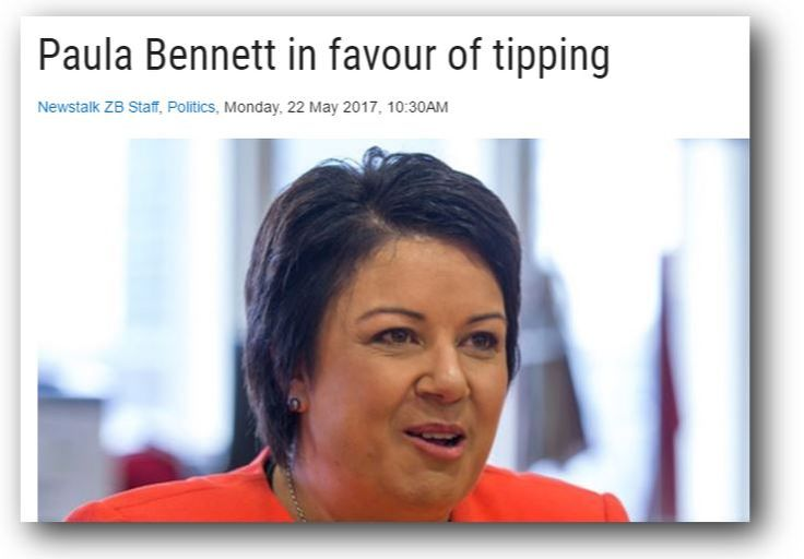 Paula Bennett - keen to see tipping introducedto New Zealand. Henry Oliver explains why this is a terrible idea.