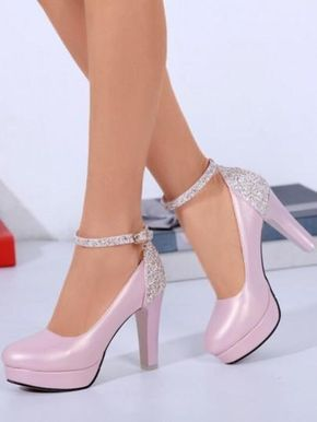 Heeled High Fashion Toe 2019 Pink In Shoes Round Sequin Chunky nONkw80PX