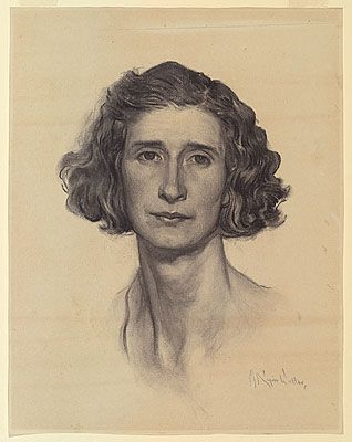 Napier WALLER, Study for 'Christian Waller with Baldur, Undine and Siren at Fairy Hills'. Napier Waller painted this portrait of his artist wife, Christian, in 1932. The painting, almost of mural proportions, was the centrepiece of the Wallers' dining room. This portrait of Christian should have been a joyous celebration of the Wallers' working partnership, but it instead defined the moment of their emotional estrangement. Christian retreated into an esoteric religion.