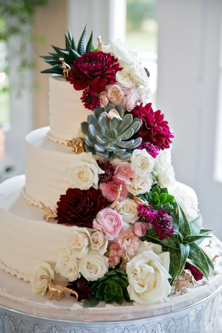 Succulents, Dinosaurs, Dahlias, Roses, and ranunculus! Wedding cake flowers, New Orleans wedding, Fat Cat Flowers, Swiss confectionery, Eau Claire Photography
