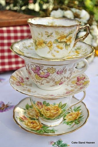 Victorian Teacups and Saucers Gold Pink & Yellow