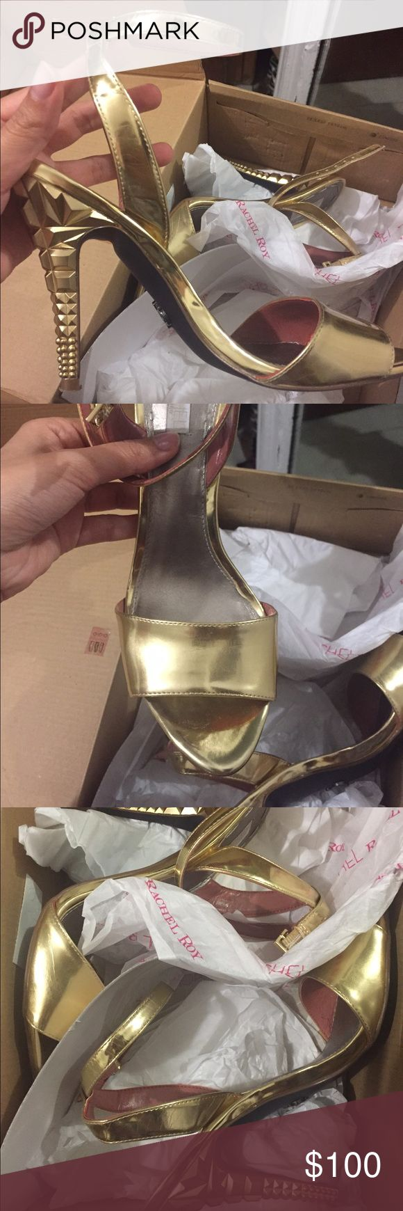 Rachel Roy gold heels Gold sandal heels with ankle strap and architectural detailing on the heel. Worn once RACHEL Rachel Roy Shoes Heels