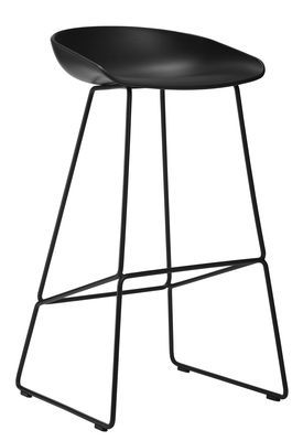 Tabouret de bar About a stool / H 65 cm - Piètement luge acier Noir - Hay - Décoration et mobilier design avec Made in Design