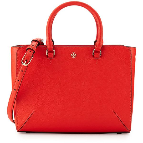 Tory Burch Robinson Small Zip Tote Bag (€405) ❤ liked on Polyvore featuring bags, handbags, tote bags, poppy red, handbags totes, red tote handbags, tory burch tote bag, zip top tote bags and tory burch purse