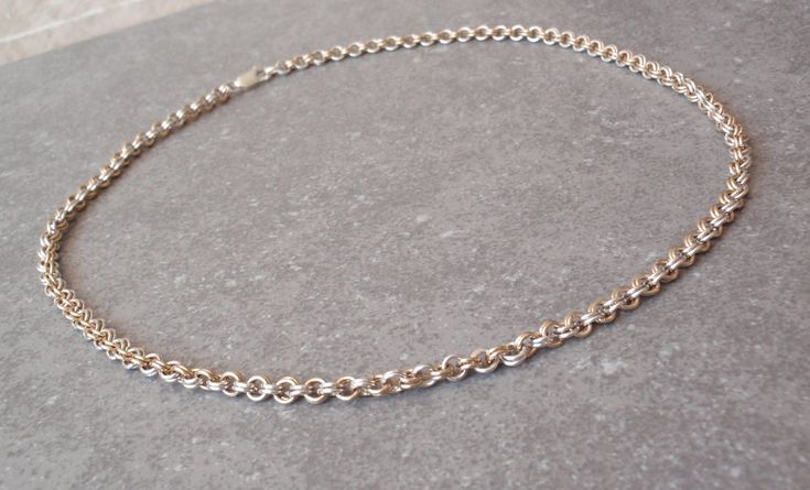 Two Tone Chain Sterling Silver 10K Gold Filled Double Round Links 040517BT #vintage #handmade #twotone #chain #doublelink #sterlingsilver #10Kgoldfilled