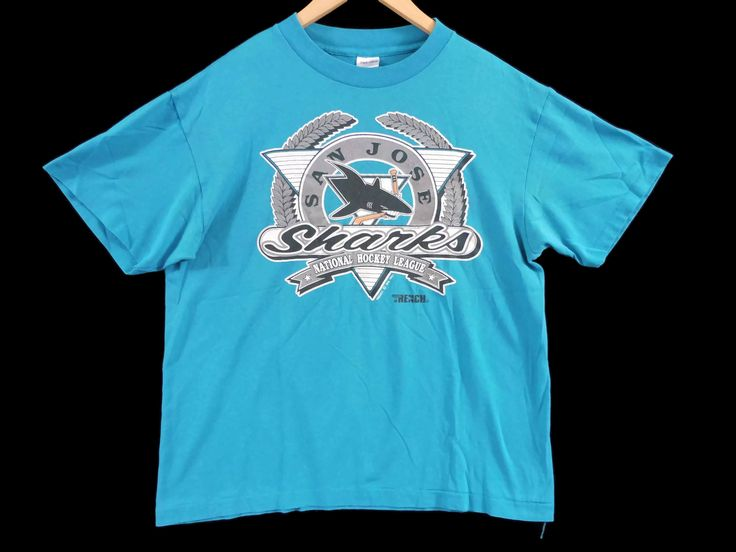 VTG 1991 San Jose Sharks T-Shirt - Large - NHL - Hockey Shirt - California - San Francisco - Oakland - Vintage Tee - Vintage Clothing - by BLACKMAGIKA on Etsy