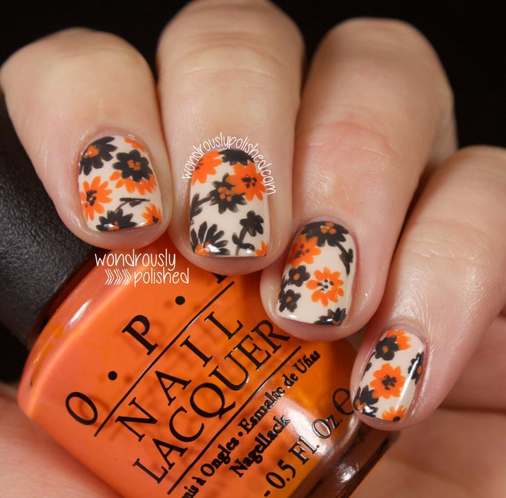 Orange and Grey, all the way - Floral - Wondrously Polished