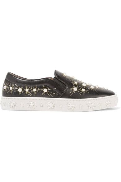 Aquazzura - Cosmic Embellished Embroidered Leather Slip-on Sneakers - Black - IT36.5
