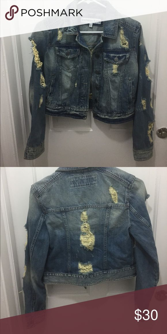 Size small jean jacket Unused size small express jean jacket. A super cute distressed style with a versatile denim color. Express Jackets & Coats Jean Jackets