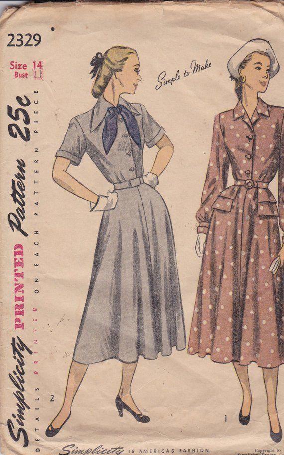 "R384 1950s Vintage Sewing Pattern Vestido-chaqueta B38/"""
