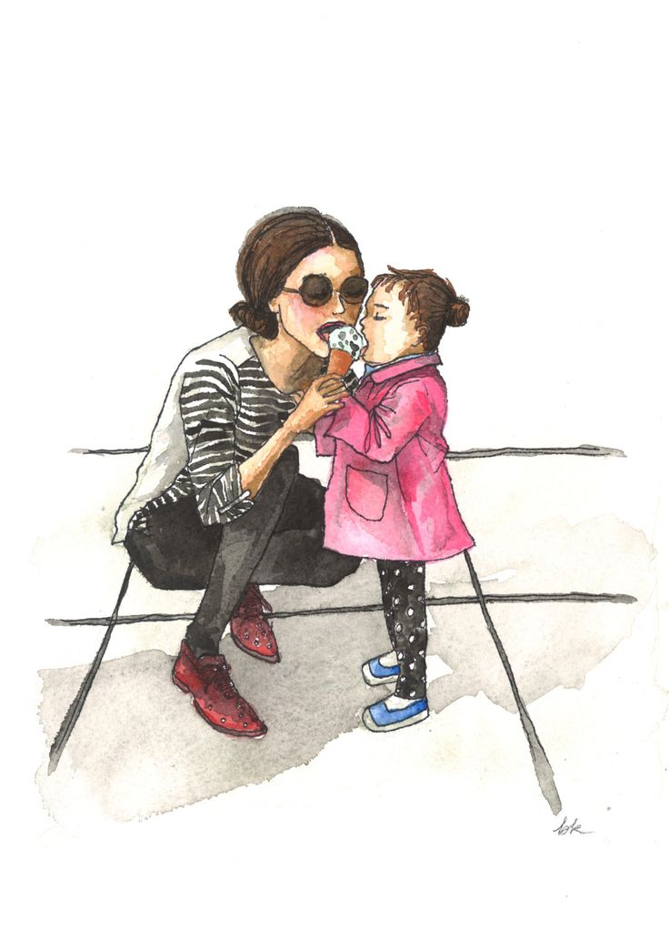 Mother Daughter Ice Cream Giclee Watercolor and by BKDesignsStudio