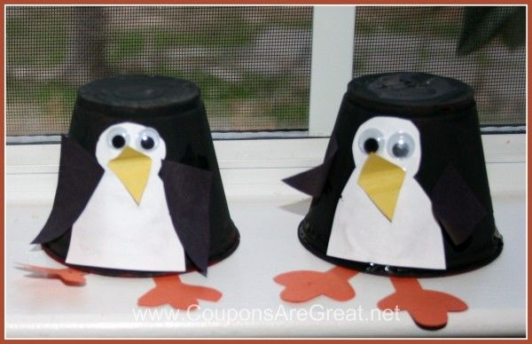 Plastic cup penguins. Might be some sort of container in the recycle bin that would be appropriate.