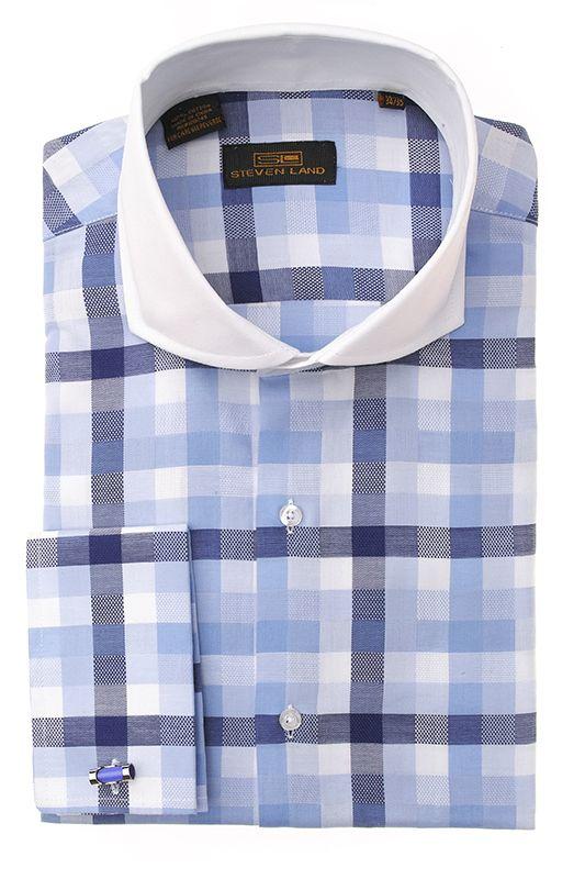Steven Land Dress Shirts  DS1257   Blue $69 Fashion Dress shirts 100% cotton dress shirts classic fit  #StevenLand #Blues
