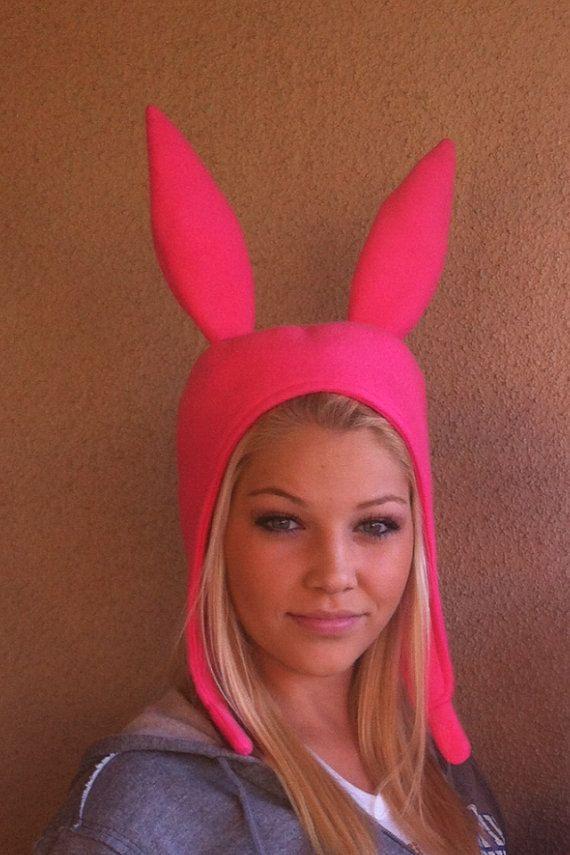 Pink Bunny Ears hat by SewinAngel on Etsy