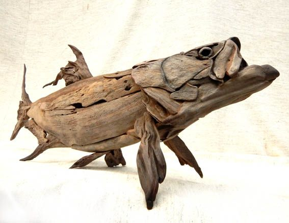 A driftwood tarpon sculpture designed to be free standing. Tony Fredriksson
