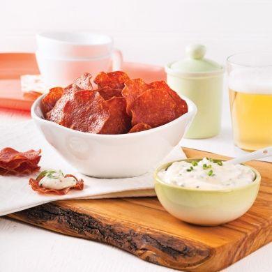 Chips de pepperoni et trempette à l'estragon - Recettes - Cuisine et nutrition - Pratico Pratique