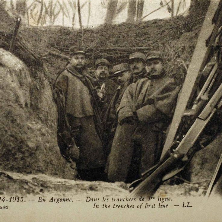 French soldiers in the trenches on the frontline, Argonne. WW1, 1915.