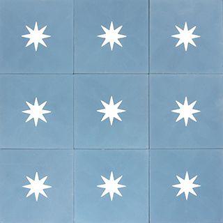 Adorable star tile - especially for a kids bathroom (encaustic cement tiles)