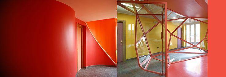 Scorci del piano rosso (ogni piano ha un proprio colore di riferimento), del Collegio Universitario Einaudi, Sezione San Paolo. www.lucamoretto.it