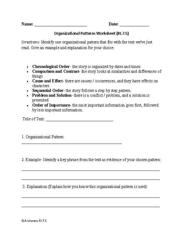 Printable Worksheets identifying patterns worksheets : Identifying organizational patterns in essays