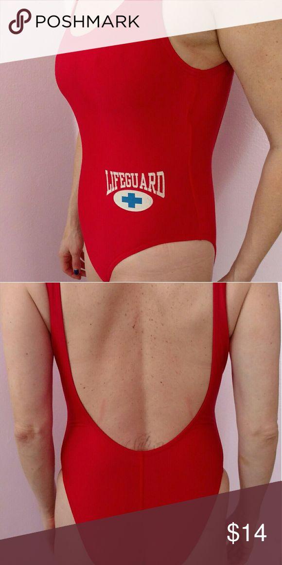 Baywatch style Speedo lifeguard bathing suit Red one piece gently worn made in USA Speedo Swim One Pieces