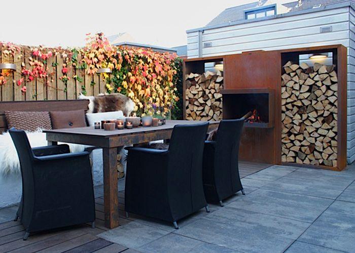 open haard set in warme tuin Eigen Huis en Tuin   Corten fire place by abk-outdoor.com