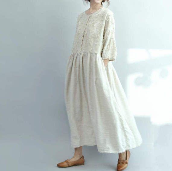 Vestido Maxi largo montaje suelto azul / beige largo vestido
