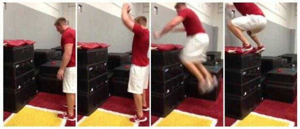 J.J.WATT  his vertical leap is  AWESOME!