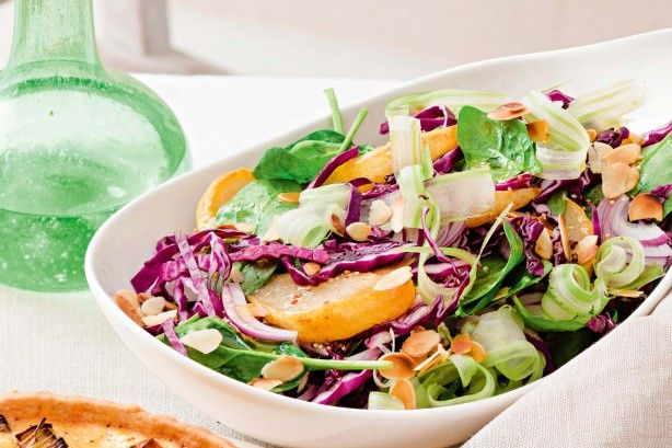 Serve this easy, heart-friendly pear salad as a side dish to a lovely lunch.
