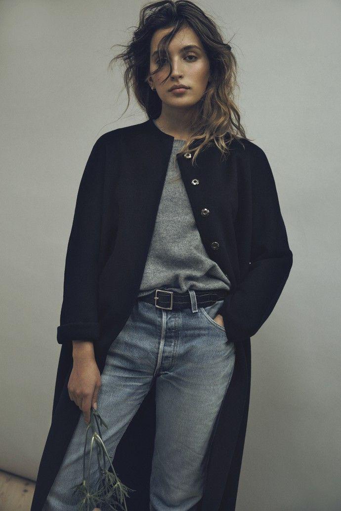 Thin grey sweater, black long coat, denim jeans - fashion - style - fall and winter fashion