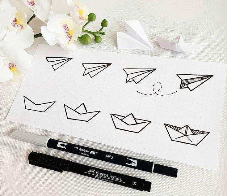 Wie man ein Papierflugzeug und ein Boot kritzelt. …