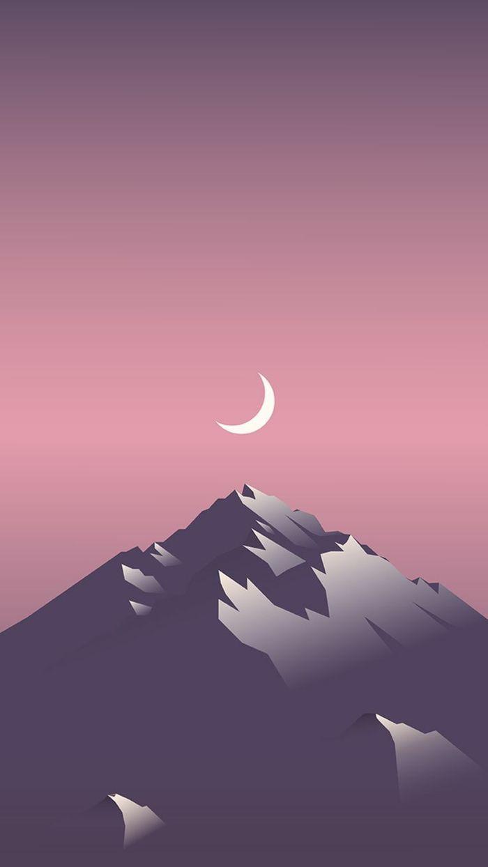 Disegno Di Mezza Luna Sfondi Per Iphone Montagna Con Neve
