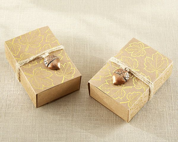Small fall favors get an affordable and chic makeover when placed in our Gold Foil Leaf Print Kraft Favor Box with Acorn Charm!