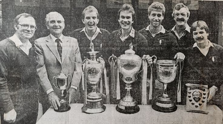 Blyth Spartans players & officials display the Trophies won in 1981/82 season