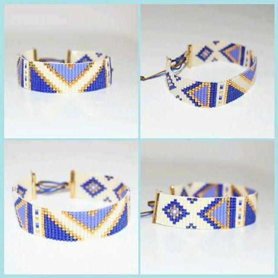 Armband Inca motief geweven miyuki kralen door Lapetitemarseillaise