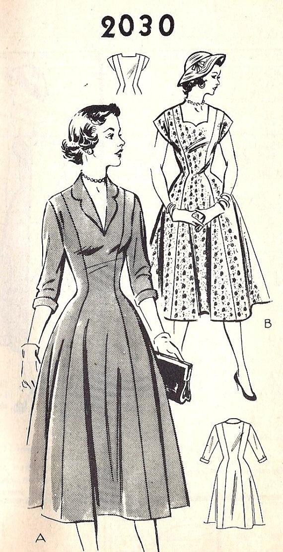 1950s Misses Princess Seam Dress