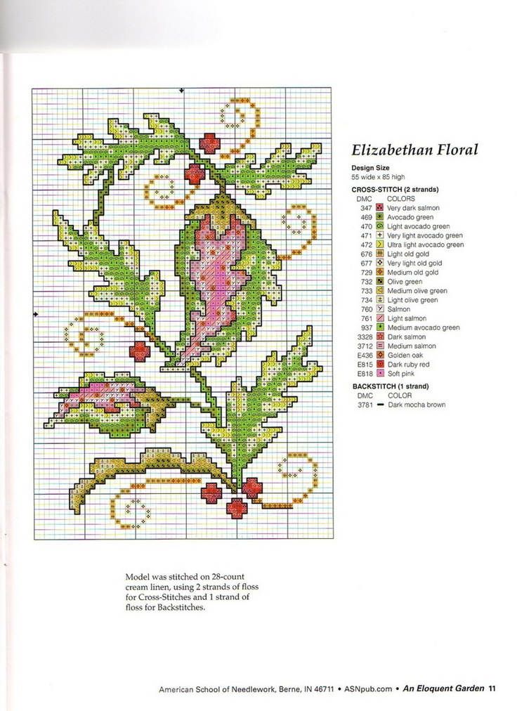Elizabethan Floral • Chart with Colour Key