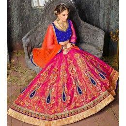 Designer Pink Net Lehenga Choli Online