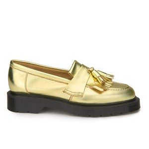 YMC Women's Solovair Leather Tassel Loafers - Gold Leather
