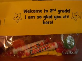 """Student Welcome Gift. Enjoying a Sweet Start:  an eraser — mistakes are opportunities for learning Smarties candies — we all have different kinds of """"smarts"""" a pencil — """"Because I know that you are sharp!"""" a stick of gum — we are going to stick together as a team a Hershey kiss — we have a safe and caring classroom candy — we are sweet and respectful towards each other"""